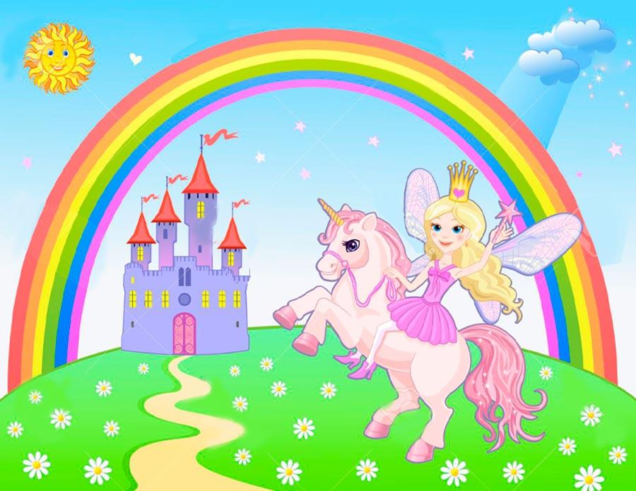 La hada y el unicornio en el castillo